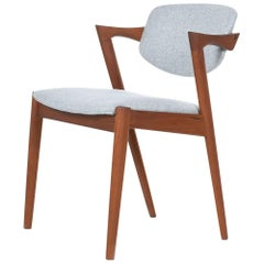 "Kai Kristiansen Solid Teak ""Z"" Armchair in New Knoll Grey Wool, 1960s Vintage"