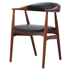 Kai Kristiansen Style Black Skai and Teak Armchair