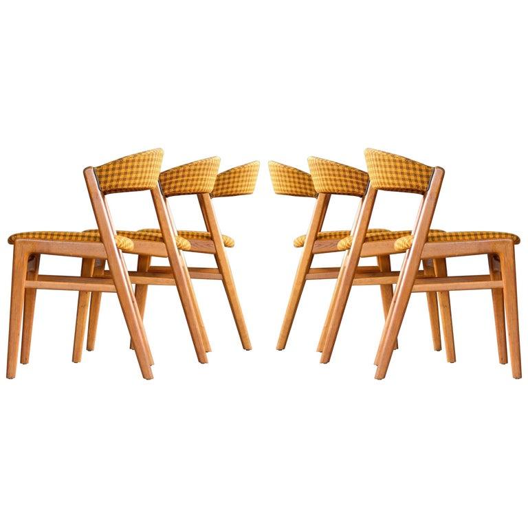 Kai Kristiansen Style Set of Six Dining Chairs Danish, Midcentury