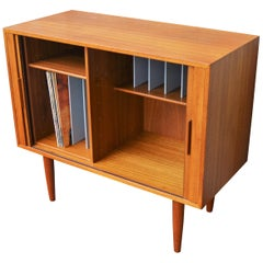 Kai Kristiansen Teak LP or Media Cabinet/Credenza, Tambour Doors for Feldballes