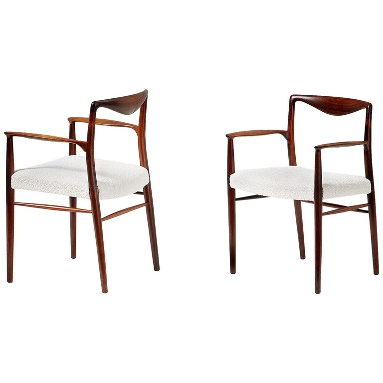 Kai Lyngeldt Larsen Pair of Rosewood and Boucle Armchairs, 1959 For Sale