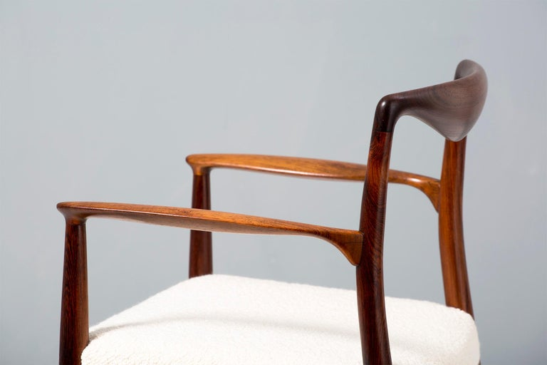 Kai Lyngeldt Larsen Pair of Rosewood and Boucle Armchairs, 1959 For Sale 4