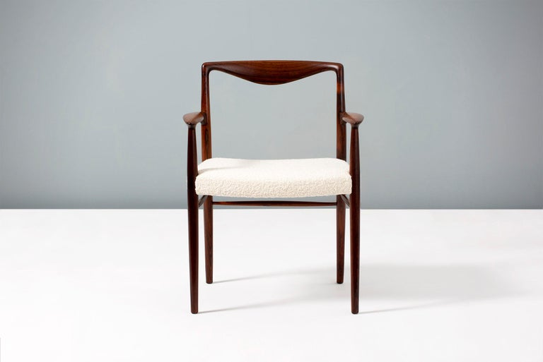 Danish Kai Lyngeldt Larsen Pair of Rosewood and Boucle Armchairs, 1959 For Sale