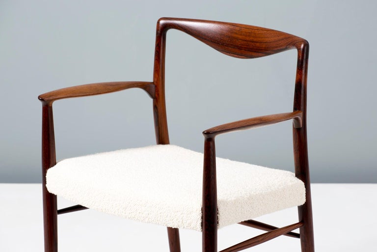 Mid-20th Century Kai Lyngeldt Larsen Pair of Rosewood and Boucle Armchairs, 1959 For Sale