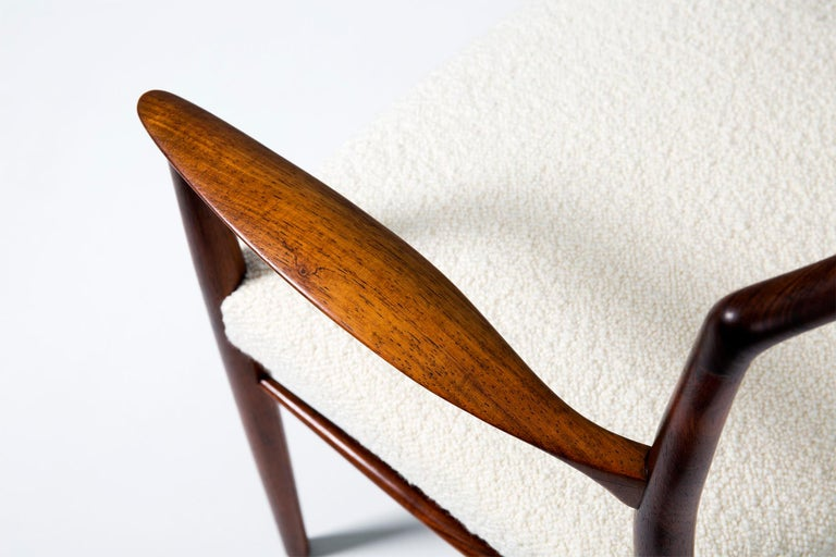 Kai Lyngeldt Larsen Pair of Rosewood and Boucle Armchairs, 1959 For Sale 2