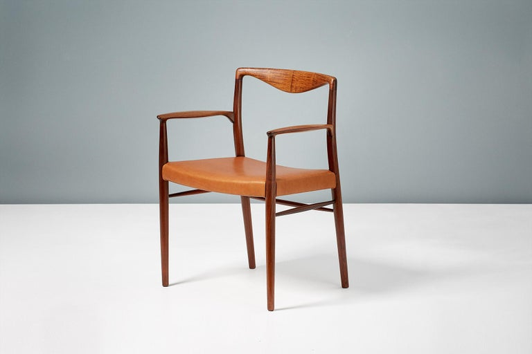Classic armchair from Kai Lyngfeldt-Larsen, circa 1960 constructed from Brazilian rosewood with new cognac brown aniline leather seat. Produced by master-cabinetmaker Soren Willadsen in Denmark.