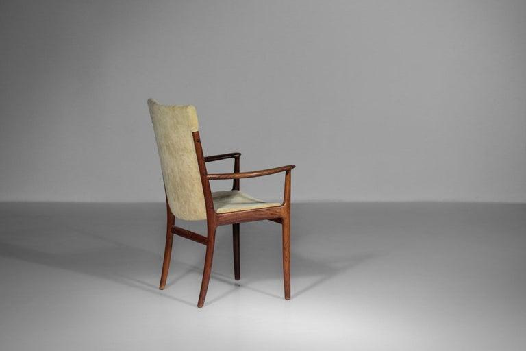 Mid-Century Modern Kai Lyngfeldt Larsen Armchair Scandinavian Velvet Fabric Soren Willadsen Mobelfa For Sale