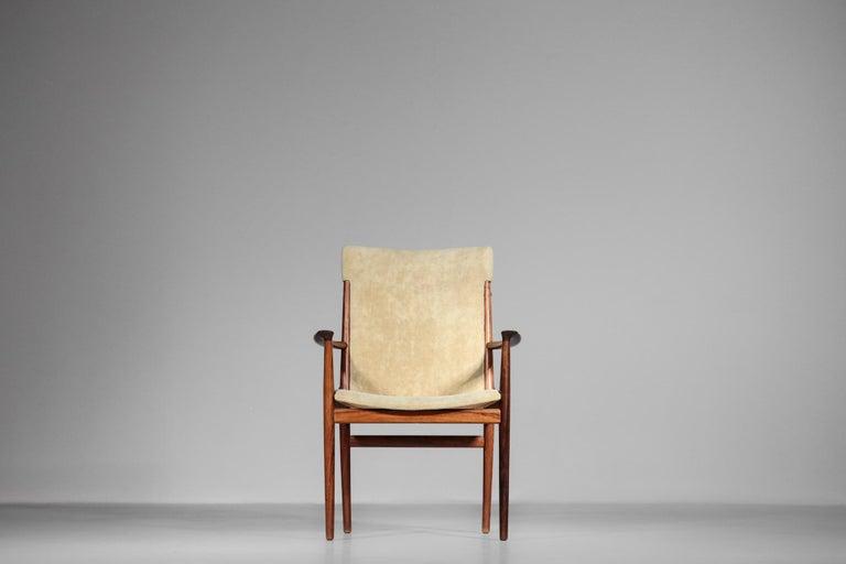 Kai Lyngfeldt Larsen Armchair Scandinavian Velvet Fabric Soren Willadsen Mobelfa In Good Condition For Sale In Lyon, FR