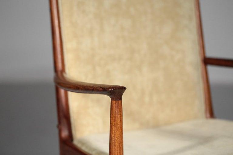 Mid-20th Century Kai Lyngfeldt Larsen Armchair Scandinavian Velvet Fabric Soren Willadsen Mobelfa For Sale