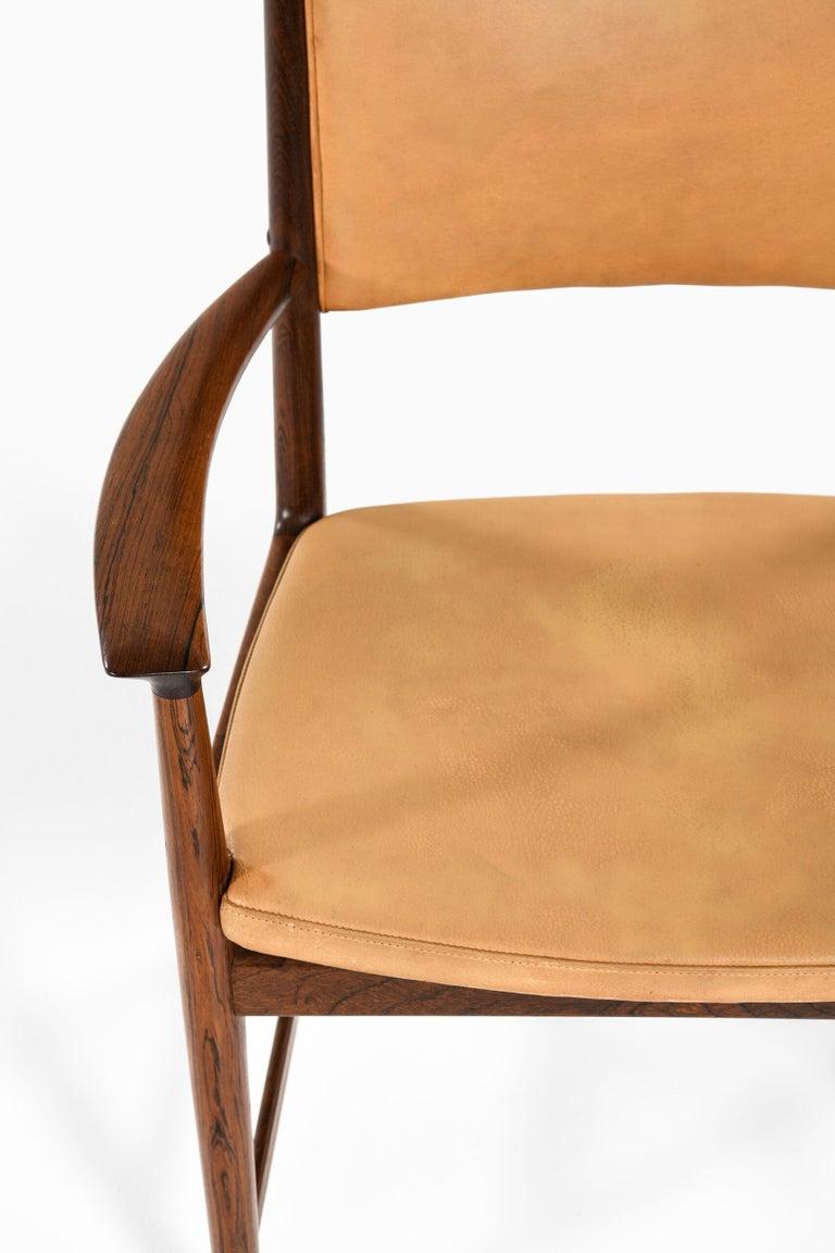 Rare pair of armchairs designed by Kai Lyngfeldt Larsen. Produced by Søren Willadsen Møbelfabrik in Denmark. Price listed is / item.