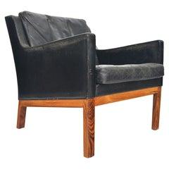 Kai Lyngfeldt Larsen Black Leather Low Back Danish Lounge Chair in Rosewood