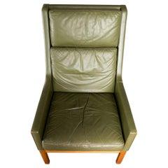 Kai Lyngfeldt Larsen Highback Lounge Chair in Teak + Original Green Leather