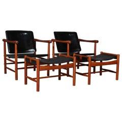 Kai Lyngfeldt Larsen Lounge Chairs with Ottomans
