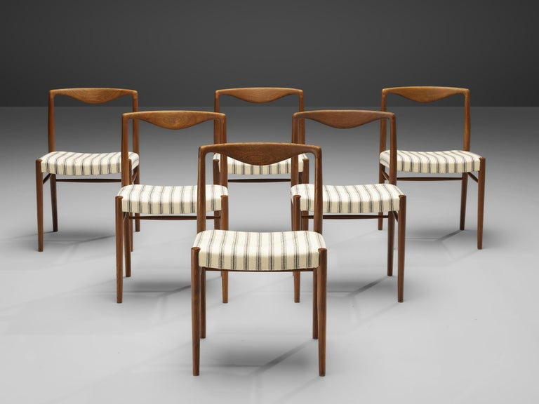 Danish Kai Lyngfeldt Larsen Set of Six Dining Chairs in Teak For Sale