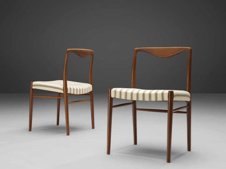 Fabric Kai Lyngfeldt Larsen Set of Six Dining Chairs in Teak For Sale