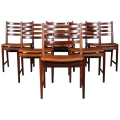 Kai Lyngfeldt Larsen Six Dining Chairs, Rosewood and Cognac Aniline Leather