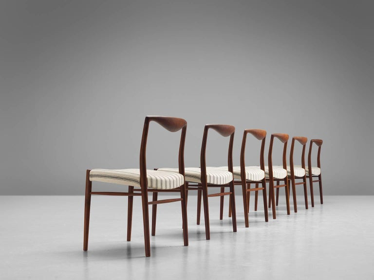 Kai Lyngfeldt Larsen Six Teak Danish Dining Chairs In Good Condition In Waalwijk, NL