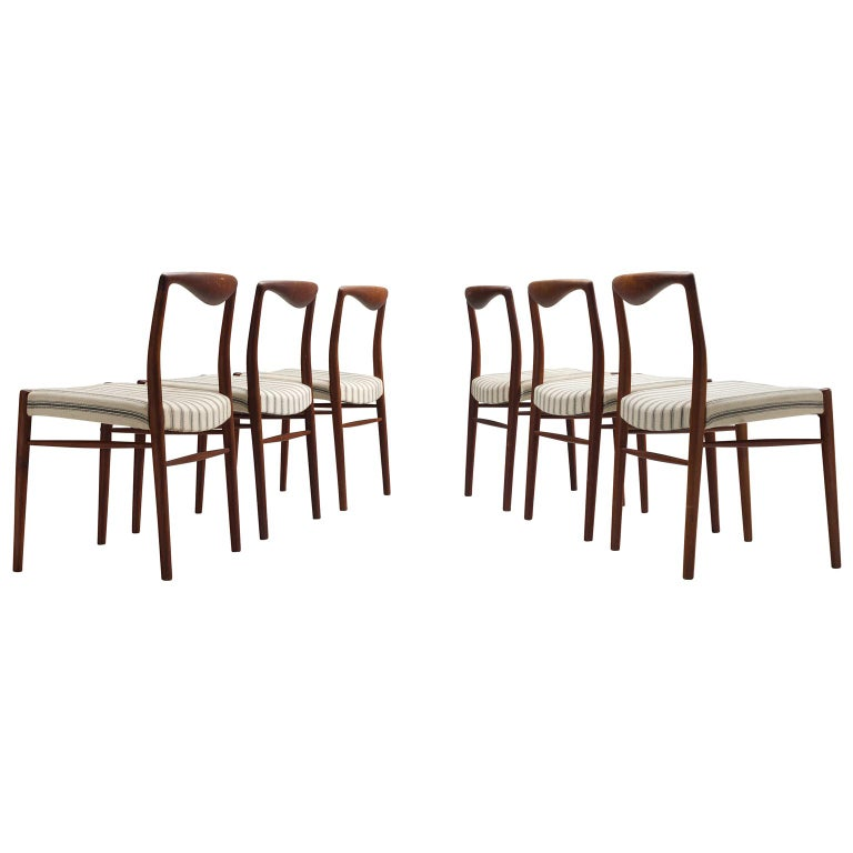 Kai Lyngfeldt Larsen Six Teak Danish Dining Chairs