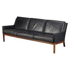 Kai Lyngfeldt Larsen Three Seat Sofa in Rosewood and Black Leather