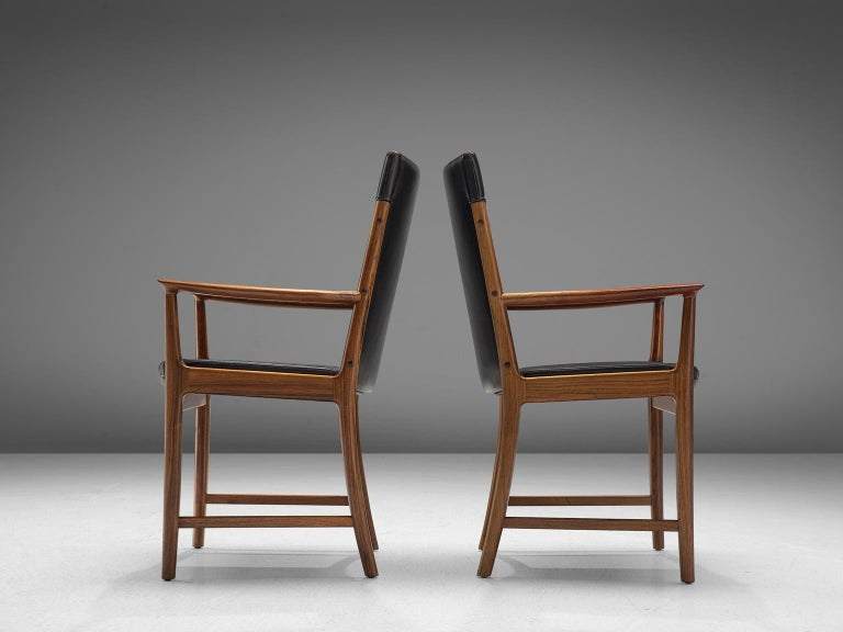Mid-Century Modern Kai Lyngfelt-Larsen Pair of Armchairs in Leather and Rosewood For Sale