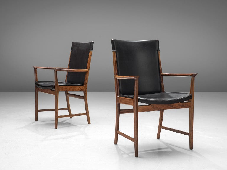 Danish Kai Lyngfelt-Larsen Pair of Armchairs in Leather and Rosewood For Sale