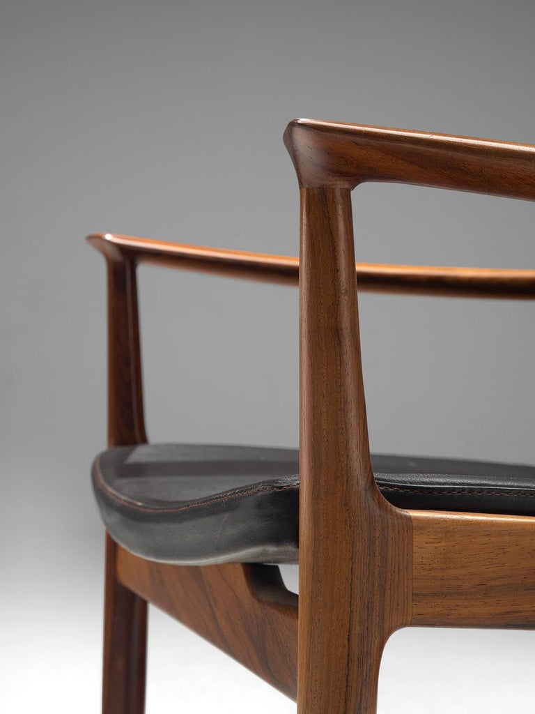 Kai Lyngfelt-Larsen Pair of Armchairs in Leather and Rosewood In Good Condition For Sale In Waalwijk, NL