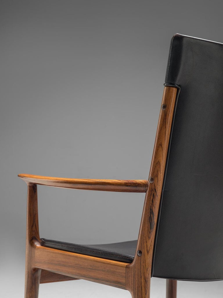 Mid-20th Century Kai Lyngfelt-Larsen Pair of Armchairs in Leather and Rosewood For Sale