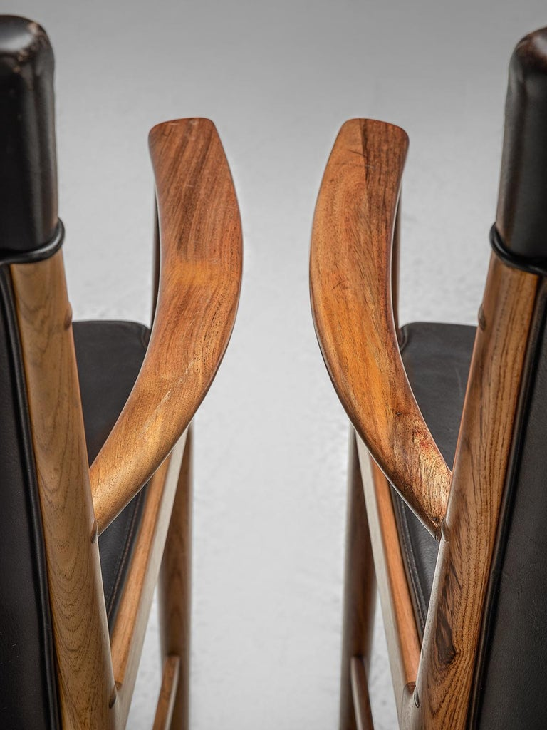 Kai Lyngfelt-Larsen Pair of Armchairs in Leather and Rosewood For Sale 2