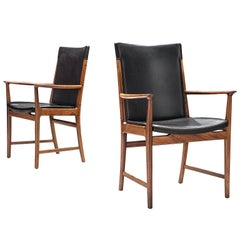 Kai Lyngfelt-Larsen Pair of Armchairs in Leather and Rosewood