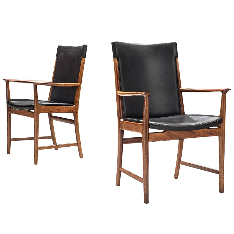 Kai Lyngfelt-Larsen Pair of Armchairs in Leather and Rosewood For Sale