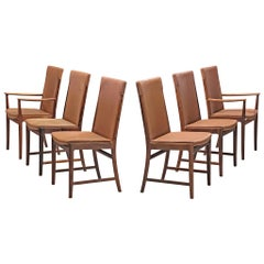 Kai Lyngfelt-Larsen Set of Six Dining Chairs in Leather and Rosewood