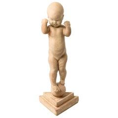 Kai Nielsen Sculpture 'Nina på kuglen' / 'En lille globetrotter' by Kähler