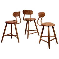 Kai Pedersen Set of 3 Bar Stools with Removable Backrest, USA, 1983