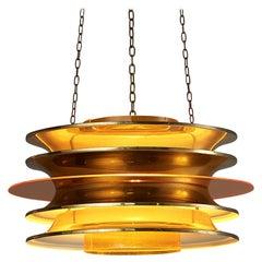 Kai Ruokonen for LYNX Chandelier in Brass and Orange Acrylic
