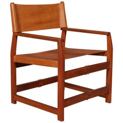 Kai Winding Safari / Instructor Chair Model 413, Teak and Cognac Leather, 1960s