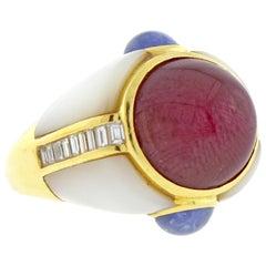 Kai-Yin Lo Cabochon Ruby, Sapphire and Diamond Ring
