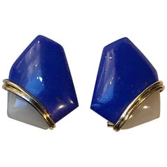 Kai-Yin Lo Gold on Sterling Blue Lapis Lazuli & White Quartz Earrings