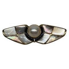 Kai-Yin Lo, KYLO Mabe Pearl, Black Onyx & Pearl Abstract Brooch