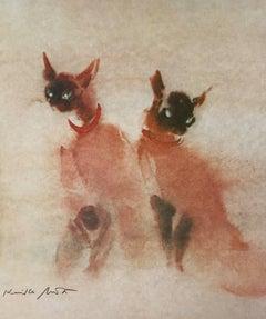 Siamese Cats, Original Lithograph, Kaiko Moti
