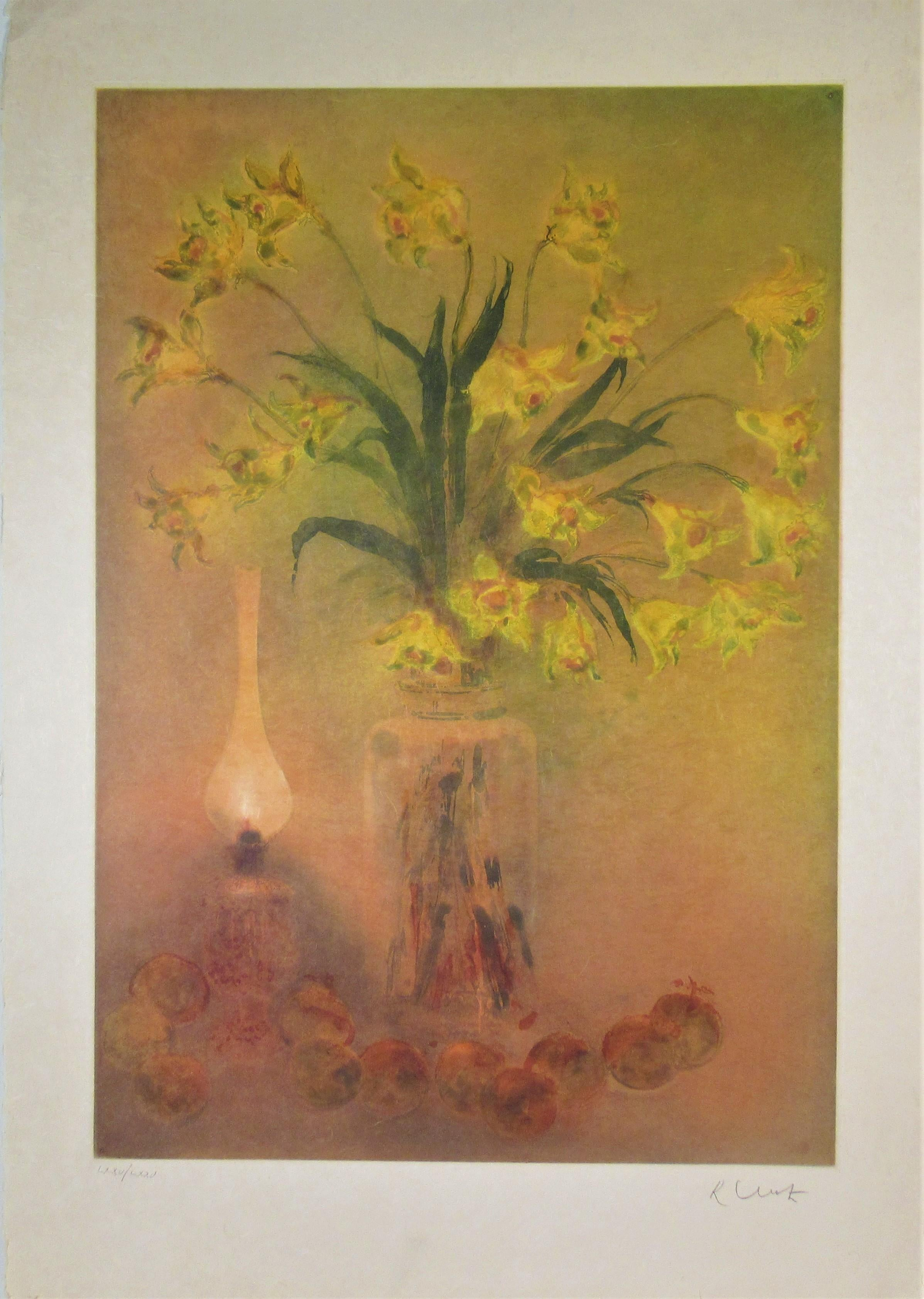 Still Life with Lamp and Fruits, Large aquatint