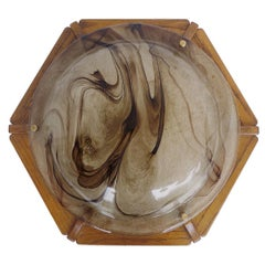 Kaiser Flush Mount Amber Murano Glass Ceiling Light, 1960s