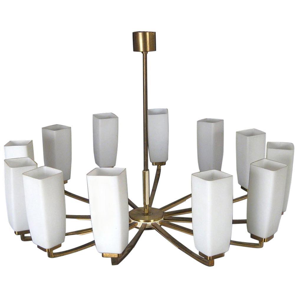 Kaiser Leuchten Twelve-Arm Brass Chandelier with Opaline Glass Shades