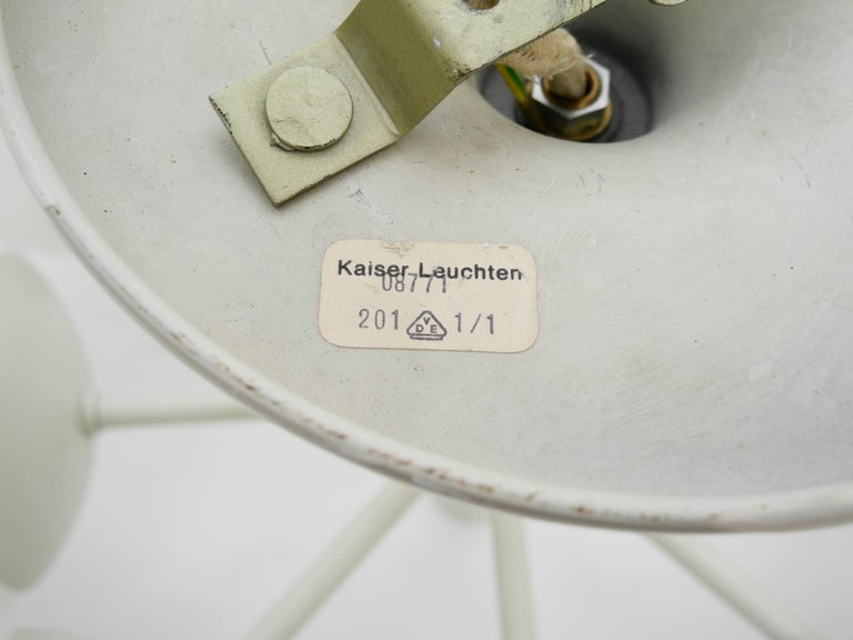 Kaiser Metal Ceiling Lamp with 6 Opaline Glasses, 1960s, Space Age Atomic Design For Sale 7