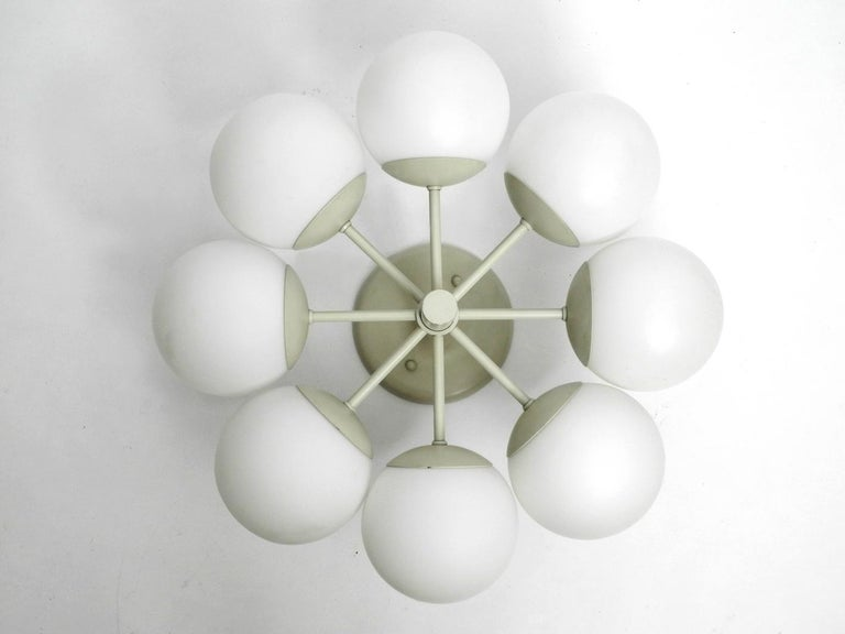 German Kaiser Metal Ceiling Lamp with 6 Opaline Glasses, 1960s, Space Age Atomic Design For Sale