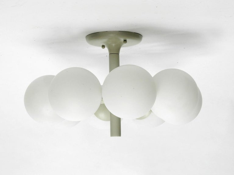 Kaiser Metal Ceiling Lamp with 6 Opaline Glasses, 1960s, Space Age Atomic Design In Good Condition For Sale In München, DE