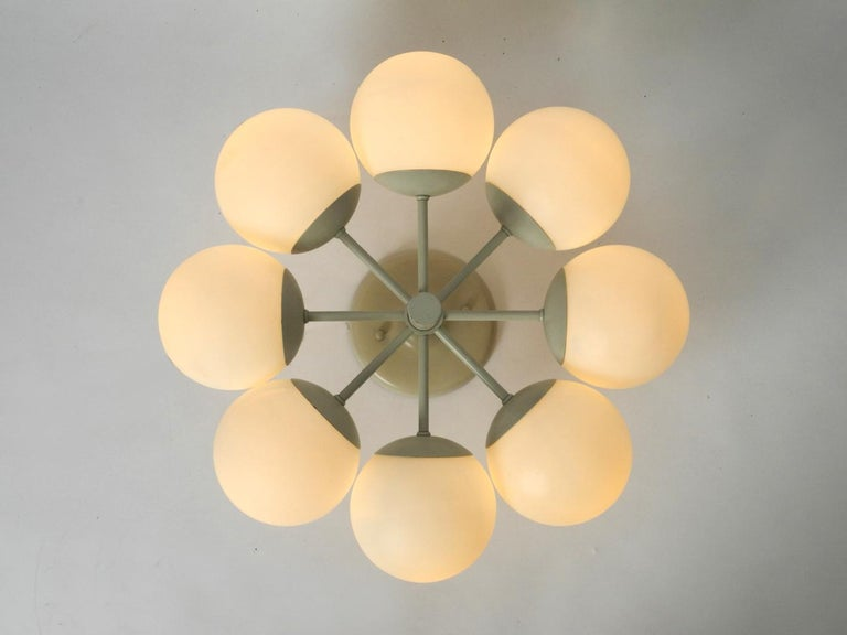 Mid-20th Century Kaiser Metal Ceiling Lamp with 6 Opaline Glasses, 1960s, Space Age Atomic Design For Sale