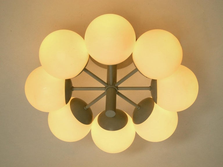 Kaiser Metal Ceiling Lamp with 6 Opaline Glasses, 1960s, Space Age Atomic Design For Sale 1