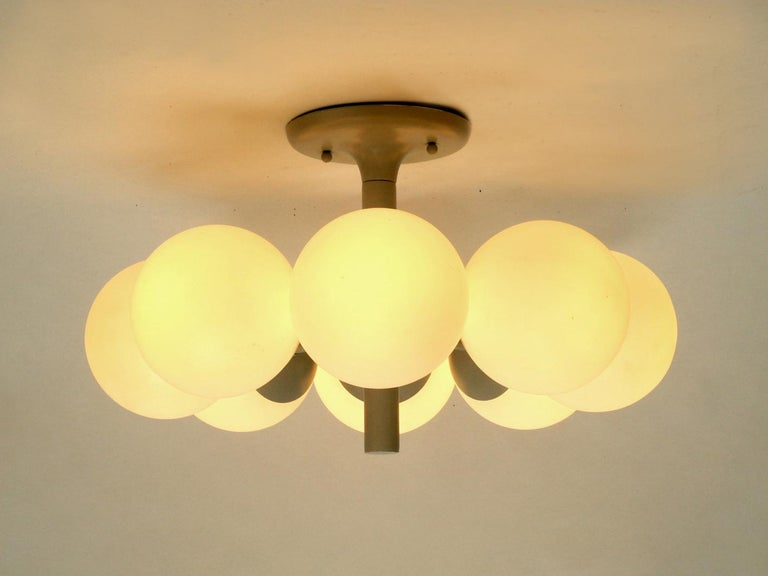 Kaiser Metal Ceiling Lamp with 6 Opaline Glasses, 1960s, Space Age Atomic Design For Sale 2