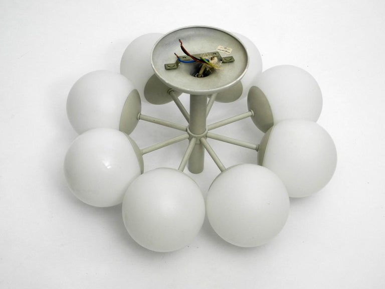 Kaiser Metal Ceiling Lamp with 6 Opaline Glasses, 1960s, Space Age Atomic Design For Sale 3