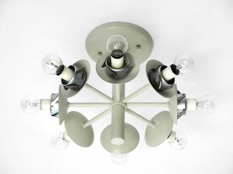 Kaiser Metal Ceiling Lamp with 6 Opaline Glasses, 1960s, Space Age Atomic Design For Sale 4
